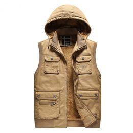 Wholesale Mens Multi Pocket Vest - Multi Pocket Jackets Sleeveless Mens Warm Vest Waistcoats Hooded Casual Coats Outdoor Outwear Overcoat 2018 High Quality Khahi Army Green