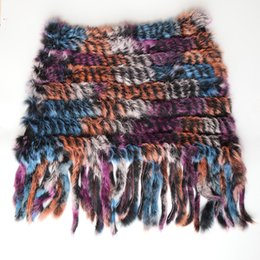 Вязаный шарф из кролика онлайн-New style Real Knitted  Shawl Natural  fur poncho stole shrug cape fur wraps women scarves with Tassel warmer winter