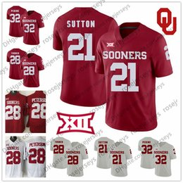 6ffae99aa Oklahoma Sooners  21 Marcelias Sutton 28 Chanse Sylvie Reggie Turner 32  Caleb Nettles 2018 New Brand Jump College Football Red White Jersey