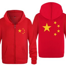 2019 casacos chineses para homens Hoodies Homens Chineses Cinco-Starred Red Flag Pintado Mens Moletom Com Capuz de Lã Velo Completa Com Zíper Jaqueta Casaco Moletons Para Mulheres Dos Homens Hot desconto casacos chineses para homens
