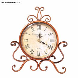 Wholesale Clock Table Living Room - Homingdeco Table Clock Antique Vintage European Retro Style Desk Table Clock Living Room Livingroom Timepiece For Decor Gift