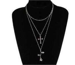 Halskette drei kreuze online-kreative Diamant Kreuz stieg Multi-Layer Schlüsselbein Kette drei Kette Halskette Antik Rose lange Metall Kreuz Halskette