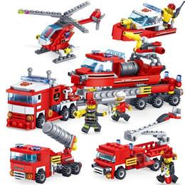 puzzle di orologio in legno Sconti 348pcs Fire Fighting auto Elicottero barca Building Blocks Compatibile legoed città Vigile del fuoco figure 4in1 Camion giocattoli per bambini