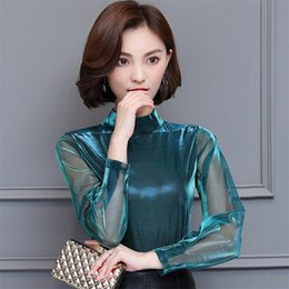 Wholesale Ladies See Through Blouses - 2018 Women Sexy Hollow Out Vintage Mesh Shirts see through transparent Long sleeve blouse ladies casual tops shine blusas Purple