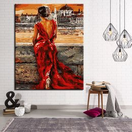 Wholesale Lady Abstract Oil Painting - Wait Beauty Lady Painting By Numbers DIY Hand Painted Oil Pictures On Canvas Digit Coloring Home Decor For Living Room Wall Art