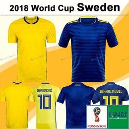 2b6b6b721 Sweden Soccer Jersey 2018 world cup IBRAHIMOVIC KALLSTROM LARSSON SVENSSON Football  Shirts BERG LARSSON UARDAD TOIVONEN Camisas de futebol