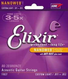 Wholesale 11 String Guitar - Elixir 11027 Guitar Strings Acoustic 80 20 Bronze with NANOWEB Coating Custom Light 11-52 Guitar Accessories
