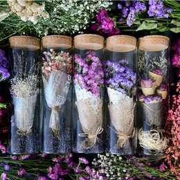 Wholesale Green Preserves - Natural Dried flower +Glass bottle purple myosotis Gypsophila Preserved Flower wedding gift Christmas gift home decoration