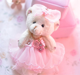 vestidos de novia de felpa rosa Rebajas Juguetes de peluche con peluche de oso, llavero, juguetes, vestido de novia, rosa, 5.5