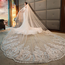 edge trimmers Promo Codes - Gorgeous 4M One Layer Long Cathedral Ivory Wedding Veils Lace Trim Soft Tulle Wide Bridal Veil Accessories With Comb
