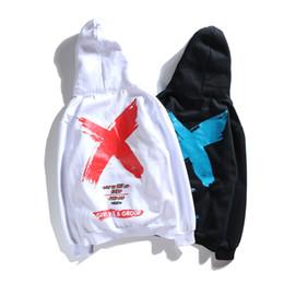 Sudadera con capucha delantera online-Alta calidad 2018 Otoño Streetwear Style Big X Imprimir Hoodies Hip Hop Hombres Algodón Frente bolsillo con capucha Sudadera