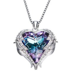 Wholesale Wing Heart Necklace Diamond - Valentine's Day Gift Love Heart Pendant Necklaces with Angel Wing Gifts for Wife Romantic Crystal Diamond Jewelry