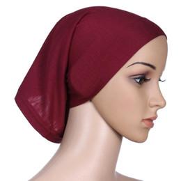 Wholesale Silk Head Caps - Under Scarf inner Hat Strech Elastic Cylinder cap Islamic Black Head Wear wrap Muslim Adjustable Render Cap 20 colors
