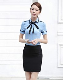 Wholesale Lady Blouses Piece - Summer Formal Two Piece Sets Women Business Suits with Skirt and Blouses Sets Office Ladies Shirts Short Sleeve Top
