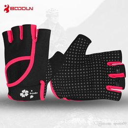 Wholesale crossfit pink - BOODUN New Women's Gym Training Gloves Anti Slip Dumbbell Barbell Sports Gloves Crossfit Girls Fitness Yoga Bowling Groves Weight Lifti
