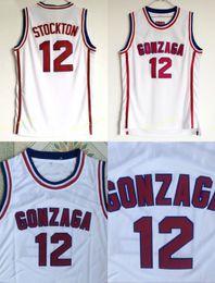 John sport online-Gonzaga Bulldoggen Basketball 12 John Stockton Jersey Highschool Team Weiße Farbe Stockton Bulldoggen Trikots Atmungsaktive Sportarten Kostenloser Versand