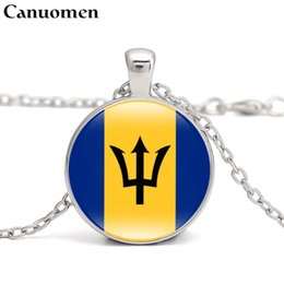 Deutschland Canuomen Barbados Flag Pendant Necklace Caribbean Country Antigua and Barbuda Bahamas Jamaica I Love Hometown Men Women Jewelry cheap jamaica necklace Versorgung
