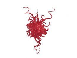 Bocca di luce rossa online-Luce a sospensione a LED Lampade a sospensione Illuminazione di lusso 100% soffiato a bocca Borosilicato Dale Stile Chihully Luce soffiata a mano Lampadario in vetro rosso