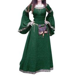 Vestido largo de manga larga con cuello redondo y manga larga medieval de media manga desde fabricantes
