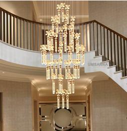 lampada a bolle d'epoca Sconti Modern Chandelier lampade a LED K9 cristallo Bubble Bar Lampadari luci Fixture americano Big lungo Stair Hanging luce illuminazione dell'interno della casa