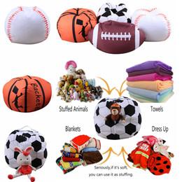 Wholesale Inch Ball - 4 Designs 18 inch Ball Bean Bag Football Basketball Baseball Storage Bean Bag Baby Stuffed Plush Pouch Bag Organizer Beanbag Chair AAA225