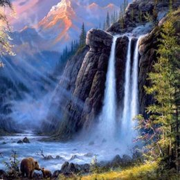 DIY Painting Landscape Painting By Numbers Picture Wall Cascate Alberi forestali da