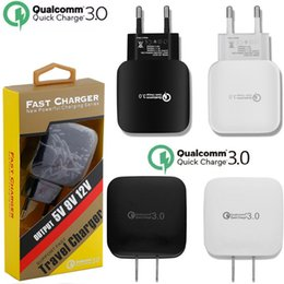 Wholesale chinese solar phone charger - Fast Quick charging Qc 3.0 eu us ac home wall charger power adapter for samsung s6 s7 s8 android phone +Retail box cable