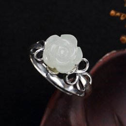 Kjjeaxcmy Boutique Jewelry S925 Sterling Silver Antique Inlay And Tian Yu White Jade Pearl Mei Flower Ladys Ring Finger Ring Jewelry & Accessories Rings