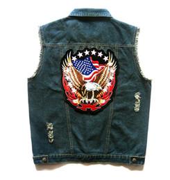 Projeto do remendo da motocicleta on-line-Mens Blue Denim Motociclista Vest Águia EUA Bandeira Americana Patch Design Punk Rasgado Coletes