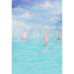 Wholesale Sea Photography Backdrops - Oil Painting Blue Sky Sea Photography Backdrops Printed Sailboats Kids Children Birthday Party Photo Booth Backgrounds for Studio