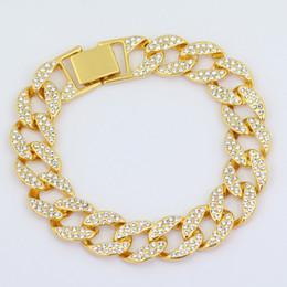 2019 véritables bracelets en diamant Véritable Bracelets Plaqué en Or Jaune 18K avec Diamants CZ Inoxydable Bracelet Gourmette Cubain en Acier Inoxydable pour Hommes promotion véritables bracelets en diamant
