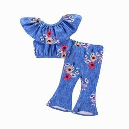 2018 Summer New Toddler Baby Girl Lotus Collar Tops camiseta + Pantalones acampanados Bell Bottom Sun flor Imprimir Fashion Outfits E0125 desde fabricantes