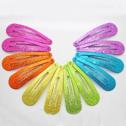 Wholesale fashionable hair styles - Winter style 12 pcs lot fashionable glitter hair snap clips hairgrips colorful solid metal hairpins girls Christmas gifts