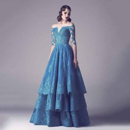 Wholesale Cheap Sequin Dresses China - Real Vestidos de Formatura 2018 Off The Shoulder Long Prom Dresses Half Sleeves Lace Tiereds Vestido De Baile China Cheap Online