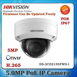 camera ds Promo Codes - orginal English version DS-2CD2155FWD-I 5MP WDR Fixed Dome Network cctv Camera POE, IP67,IR 30M, IK10,H.265+ no audio