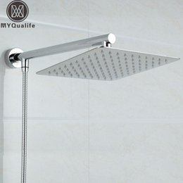 """Wholesale Shower Arm Wall - Wholesale- Free Shipping Chrome Wall Mounted Ultrathin Square 8"""" Shower Head + Brass Shower Arm + 150cm Srainless Steel Shower Hose"""