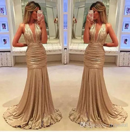 Wholesale Sexy Girls Western - sexy elegant long prom dresses,black girl western country style for woman dress gold deep v neck formal evening dresses