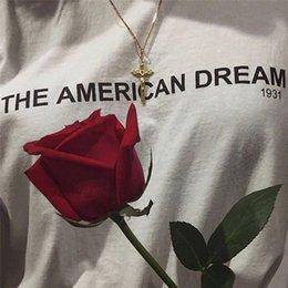Wholesale Мечта футболка американский прохладные слова с коротким рукавом платье улица досуг тройники Мужская одежда чистый цвет хлопок футболка