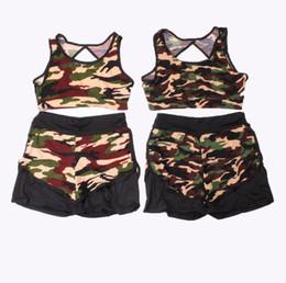 Wholesale Wholesale Ladies Hoodies - Women Sportswear Hoodies Camouflage Print Vest + Pants Two-piece Set Women Jogging yoga Sport Suit for Ladies Leisure Tracksuit LJJH44