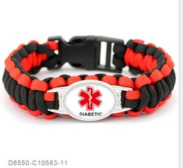 Wholesale Diabetic Charms - Medical Alert Diabetic Type2 Type1 Awareness Paracord Survival Friendship Statement Bracelets For Women Men Black Red Jewelry