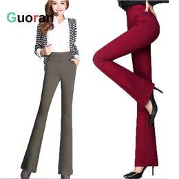 Wholesale Wide Leg Corduroys - {Guoran } High waist women 2017 fashion office work pants plus size wide leg ladies formal trousers black red Pantalon plus size