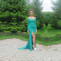 Wholesale vintage straight jacket - Long turquoise dresses Straight Long Sleeve Sweetheart Off Shoulder Evening Gowns Side Split Sweep Train Prom Dresses