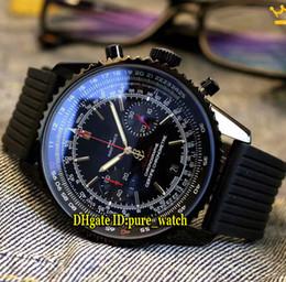 красочные женские часы Скидка Navitimer 01 PVD Черный 43 мм MB0128AN Черный Циферблат Япония Кварцевый Хронограф Мужские Часы с Резиновым Ремешком Секундомер Спортивные Часы Высокого Качества