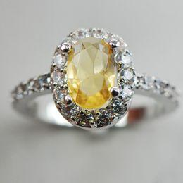 Wholesale citrine sets - Citrine White Topaz Silver Ring Size 6 7 8 9 10 F883