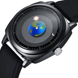 Relógios de pulso on-line-Moda personalidade criativa rotação Earth Watch reloj mujer Silicone couro quartzo Esporte Relógios Homens Mulheres
