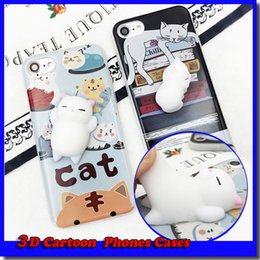 Wholesale Funny Fit - 2017 Funny 3D Cartoon Kitty Cat Phones Cases Silicone Squeeze Stress Relieve Squishy Soft TPU For iphone 6 6s 7 7plus Cradle