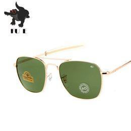 Wholesale Mirror Aviator Glasses - FU E New Fashion Army 54mm AO Aviator Sunglasses American Optical Glass Lenses Sunglasses Oku Ross De Sol - Male Mirror