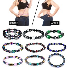 Discount wholesale magnetic therapy bracelets - Weight Loss Bracelet Hematite Round Beads Stretch Bracelet For Men and Women Anti-Fatigue Magnetic Therapy Earrings Bracelets
