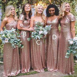 Золотое платье размер 14 онлайн-Bling розового золота Sequined невеста платье Длинные Sexy Длина пола BOHO Bridesmaids платье плюс размер выполненные на заказ