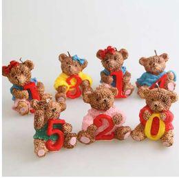 velas animais Desconto adorável aniversário animal vela urso 0-9 número vela aniversário vela desenhos animados arte criativa